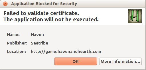Haven & Hearth • View topic - failed to validate certificate