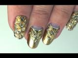 ✦Гель лак дизайн - Золотой Маникюр 2016 на коротких ногтях