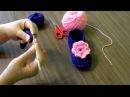 Вязание крючком пинетки тапочки часть 1
