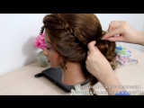Hairstyle for long medium hair. Wedding prom updo