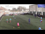 FC Barcelona U13s warm up exercise - Shooting with progression into 1 vs 1s