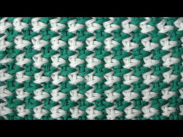 Tunisian crochet pattern Двухцветная путанка Тунисский узор крючком 5