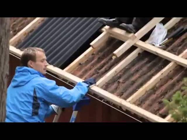 Ремонт старой крыши - кровля Ондулин.