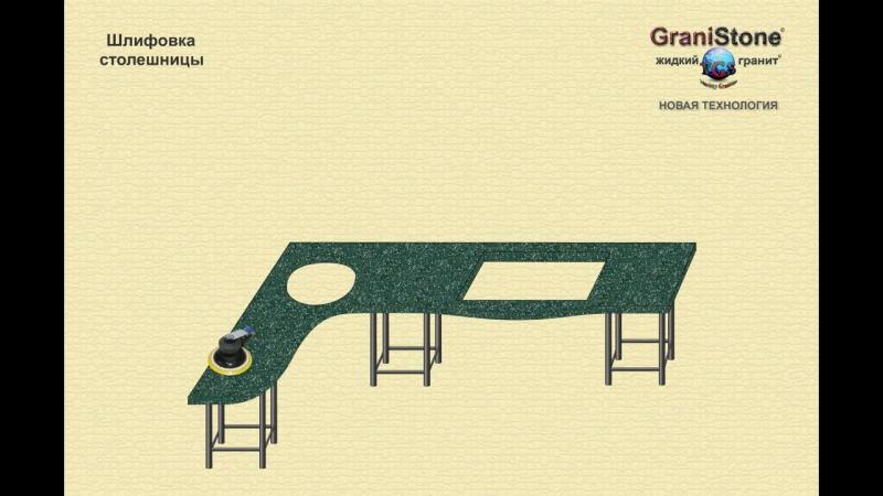 №5 Шлифовка столешницы. GraniStone -- жидкий гранит. Новая технология.