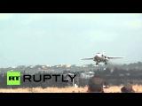 Сирия: Российские истребители взлетают в действие с Hmeymim авиабазе.