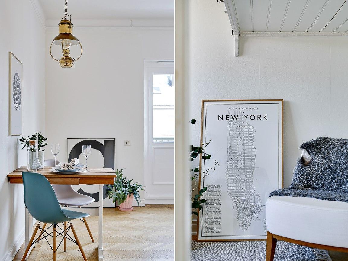 Интерьер квартиры-студии 25 м с кроватью-чердаком.
