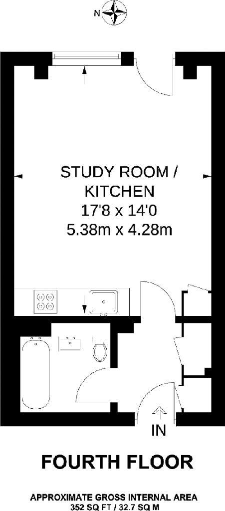 Квартира-студия почти 33 м с откидной кроватью-диваном.
