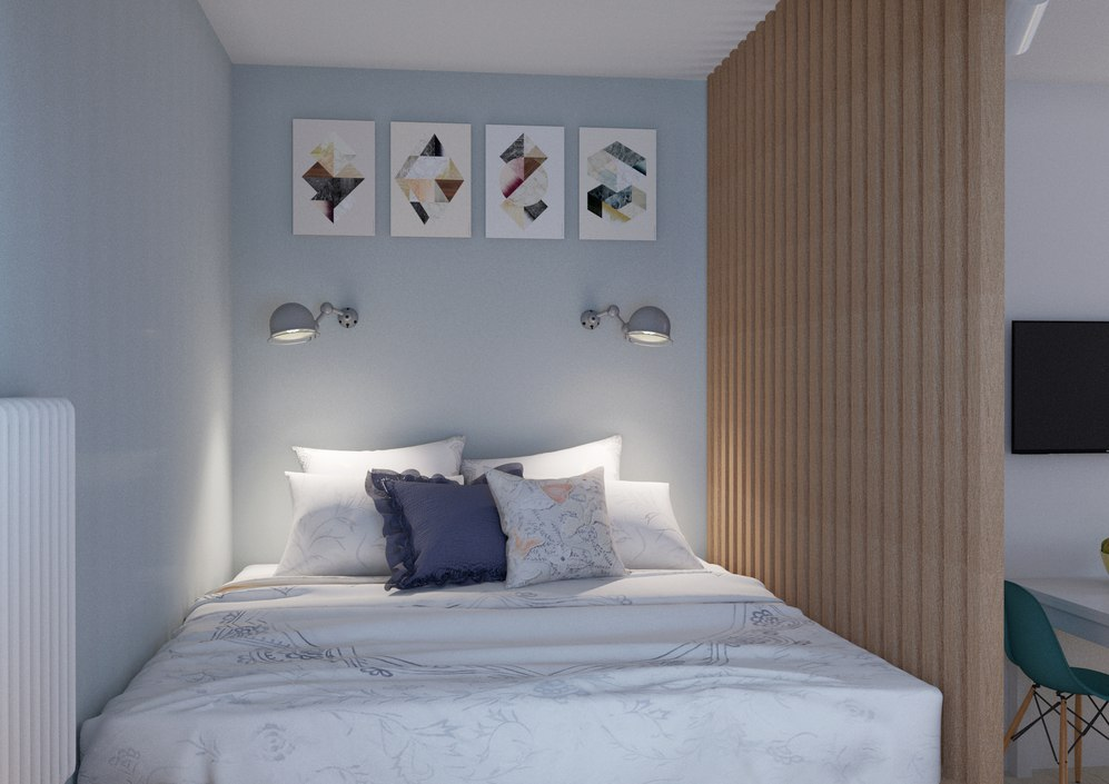 Проект студии из однокомнатной квартиры 35 м в скандинавском стиле.