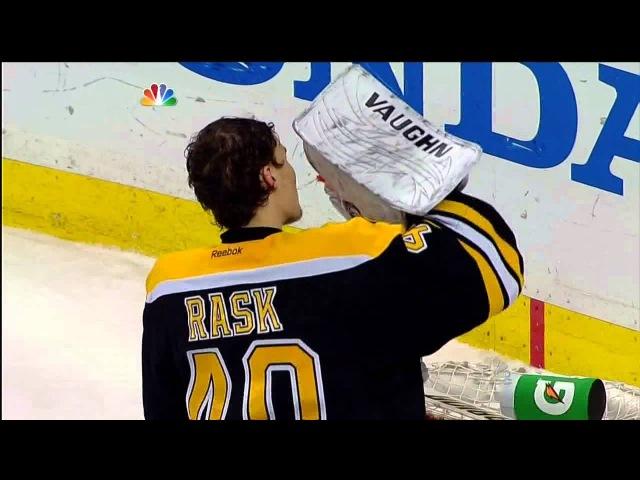 Tuukka Rask punches Joffrey Lupul in the net May 13 2013 Toronto Maple Leafs vs Boston Bruins NHL