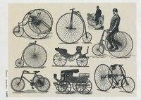 """Рисовая карта для декупажа """"ретро велосипеды на серо-бежевом фоне"""", 21х29 см, Кустарь"""
