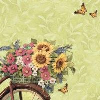 """Бумага для скрапбукинга """"цветы на велосипеде, весна"""", 31*31 см, K&Company"""