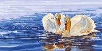 """Канва с нанесенным рисунком """"пара лебедей"""", Collection D'art"""
