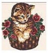 """Набор для вышивания """"котенок в корзине"""", с нитками, Collection D'art"""