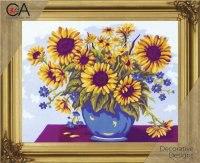 """Набор для вышивания """"подсолнухи в вазе"""", с нитками, Collection D'art"""