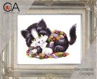 """Набор для вышивания """"озорной котенок"""", с нитками, Collection D'art"""