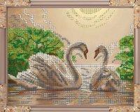 """Набор для вышивания бисером """"лебеди"""", 24.2x19.2 см, Светлица"""