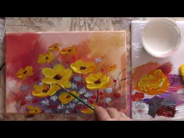 Рисуем акрилом цветы Спонтанный букет Draw acrylic flowers