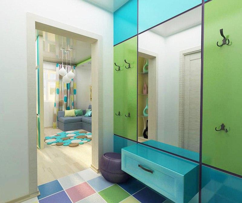 Еще один концепт квартиры 28 м с перегородкой между кухней и гостиной от студии Арго-Дизайн, Тюмень.