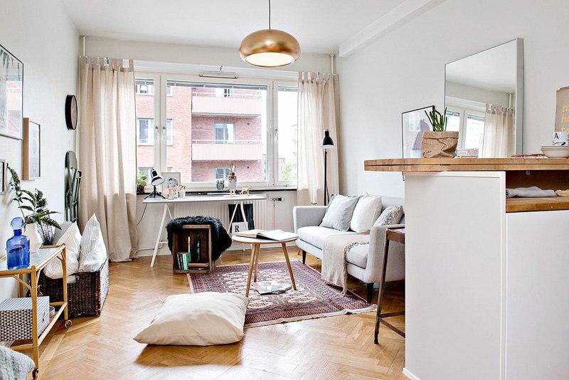 Интерьер прямоугольной квартиры-студии 25 м.