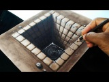 Drawing a Brick Hole - 3D illusion