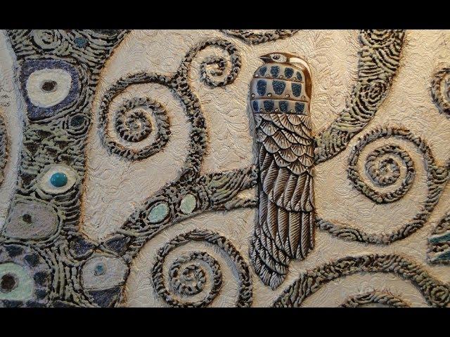 Мастер Класс Барельеф дерева Климта ЧАСТЬ 2(3) Роспись и инкрустация своими руками