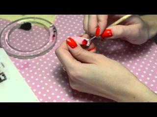 спелая вишня, косой френч кружева, рисуем тонко, гель краски, эми