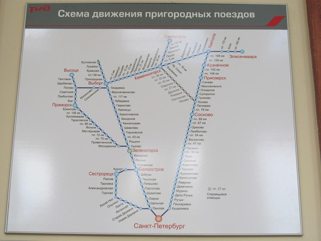 Схема электричек на лосево