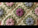 EASY crochet pretty puff stitch flower blanket - flower granny square tutorial