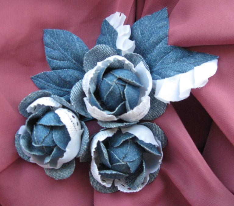 Джинсовые цветы своими руками фото