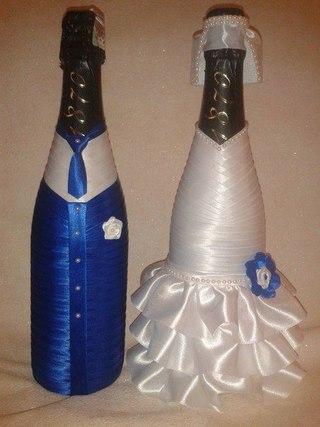 Бутылка шампанского на свадьбу из лент своими руками