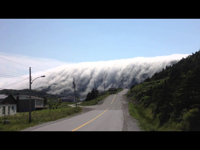 Fog rolling over Long Range Mountains in Lark Harbour Newfoundland