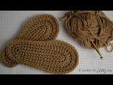 Как связать крючком подошву для детских тапочек, сапожек + схема. Crocheted sole