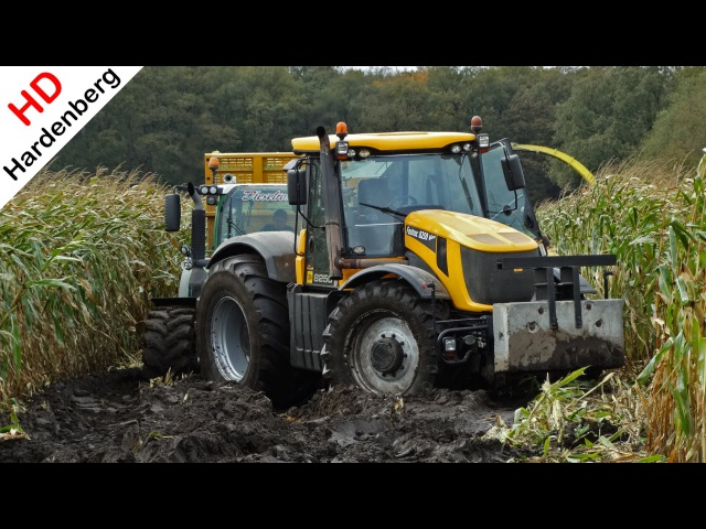 John Deere 6850 JCB Fastrac 8250 Vario Harvesting mais in the mud Kroes NL