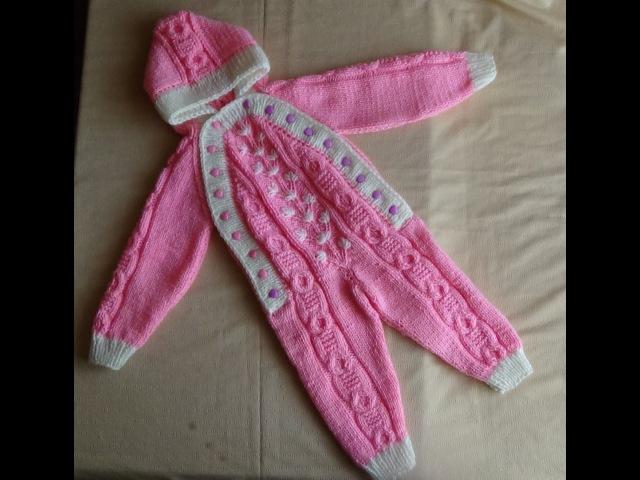 Розовый комбинезон спицами. Часть 1- вяжем штанины