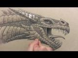 Рисуем очень красивого и детализированного дракона - How to Draw a Dragons Head - Shading Details