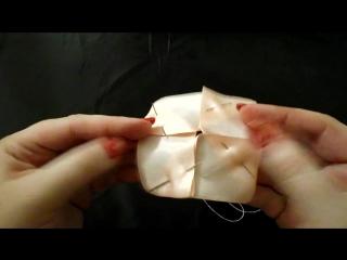 Bulk Tulip Kanzashi _ Объемный тюльпан_ DIY. Цветы из лент. Мастер-класс. Канзаши. Урок №1