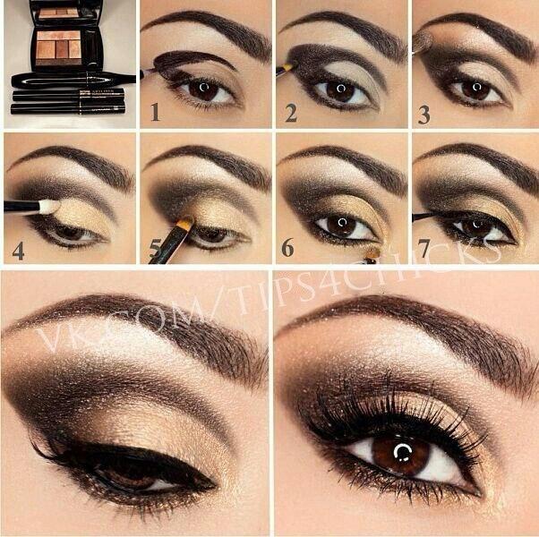 Темный макияж для карих глаз