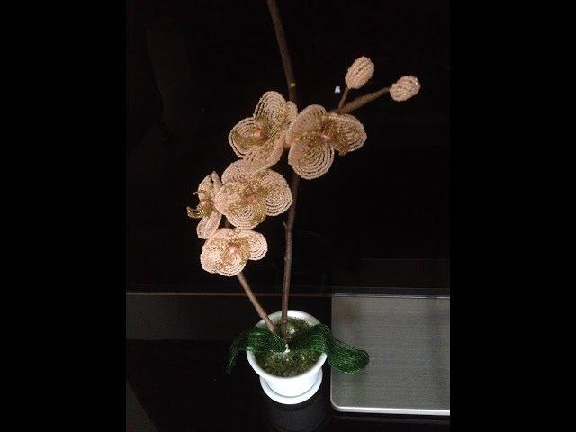 Орхидея персиковая. Beaded orchid. Часть 33.Мастер-класс, бисероплетение. Biser.