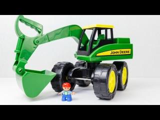 Мультфильм про экскаватор.  Игрушечный экскаватор Джон Дир.  Мультики про машинки для детей.