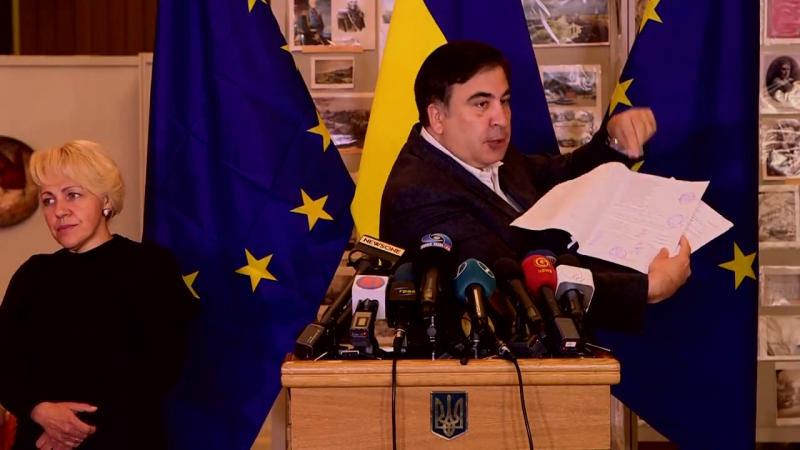 Михайло Саакашвілі на прес-конференції показав сфальсифіковані протоколи на виборах мера в Одесі