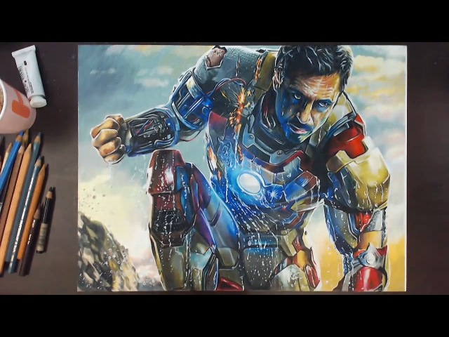 Iron Man (Robert Downey Jr.) - Colored Pencil Drawing | drawholic