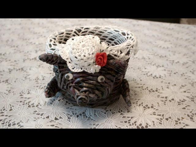 Плетение из газет корзина Мышка How to make Paper Basket weaving newspapers periódicos de tejer