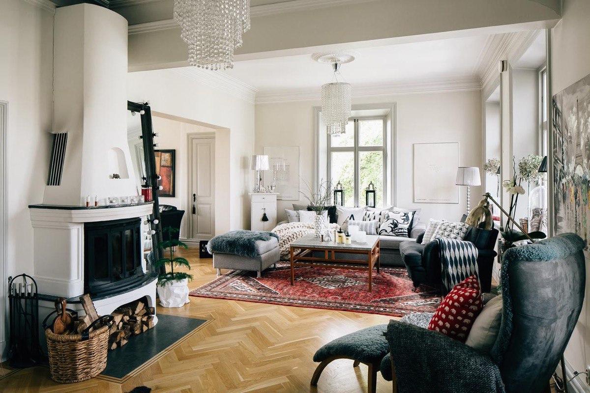 Скандинавский дизайн в интерьере гостинной (50 фото)