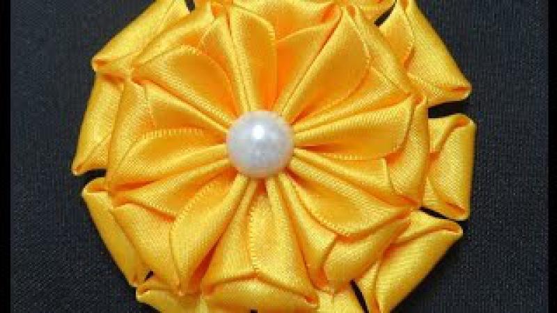 Flor de Fita de Cetim Fácil - Satin Ribbon Flower - Flor de Cinta