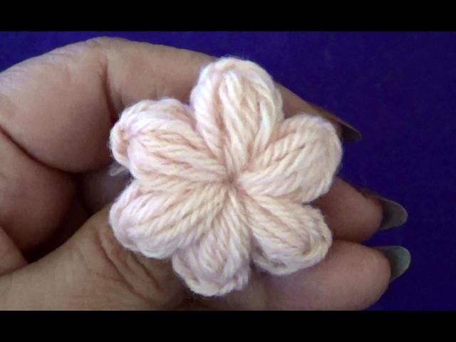 Цветочек из пышных столбиков с закрепом - Flower of Puff Stitch with Fasten