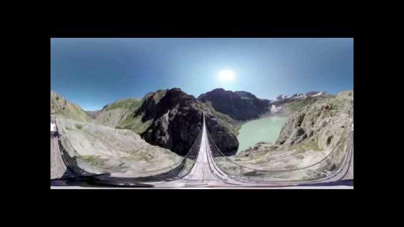 360° video walk bridge Swiss Alps HEIGHT CARE прогулка по мосте на вершине Альп