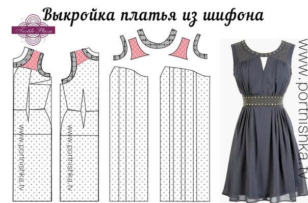 Выкройка простого платья из шифона своими руками