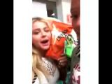 Chloe and Kiersey in Mexico buying doritos | feb 4, 2016