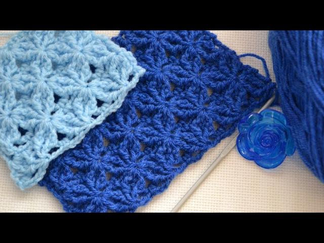 ♥ Рельефный Узор крючком Звездный Танец • Star Dance Crochet Stitch • Punto Lazos en Relieve