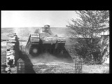 Capabilities of two  French Char 2C Super Heavy tanks being demonstrated HD Stock Footage